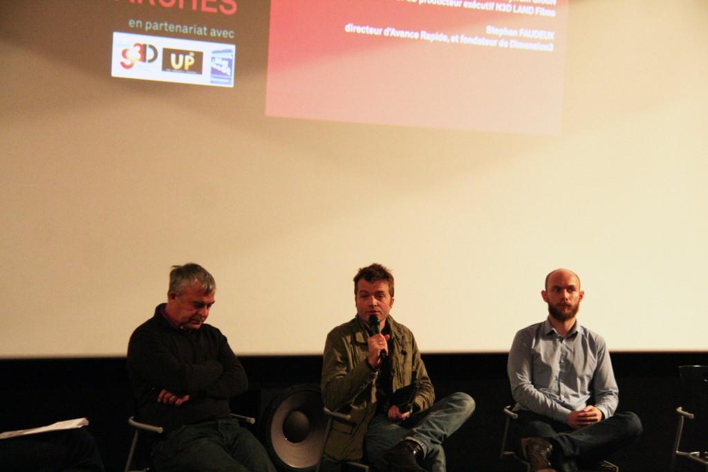 Lionel Fages (Cube Créative), Fabien Remblier et Sylvain Grain (N3D Land Films)